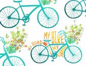 Vintage Summer Bike Composition with Bunch of Flowers Card — Stock vektor