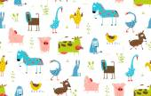 Bright Fun Cartoon Farm Domestic Animals Seamless Background — Stock Vector