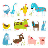 Brightly Colored Fun Cartoon Farm Domestic Animals Collection for Kids — Stock Vector