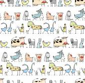 Funny Cartoon Village Domestic Animals Seamless Pattern Background for Kids — Stock Vector