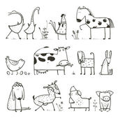 Funny Cartoon Farm Domestic Animals Collection for Kids Coloring Page — Stock Vector