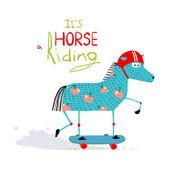 Cartoon Horse on Skateboard for Kids — Stock Vector