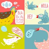 Colorful Fun Cartoon Domestic Animals — Stockvektor