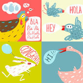 Colorful Fun Cartoon Domestic Animals — Vector de stock
