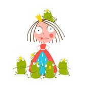 Princess and Many Prince Frogs — Stock Vector