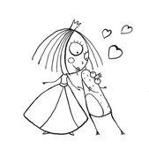 Baby Princess and Prince Frog Kissing — Stockvektor