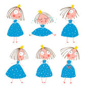 Girls in Poses Collection for Kids — Stock Vector