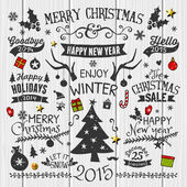 Vintage Christmas Design Elements Collection — Stock Vector
