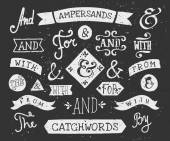 Hand Drawn Chalkboard Ampersands and Catchwords — Stock Vector