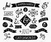 Hand Drawn Ampersands and Catchwords — Stock Vector