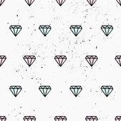 Hand Drawn Diamonds Seamless Pattern — Stock Vector