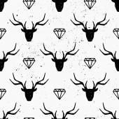 Deer Heads and Diamonds Seamless Pattern — Stock Vector