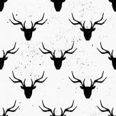 Deer Head Silhouette Seamless Pattern — Stock Vector