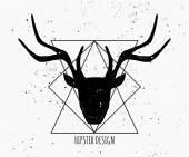 Deer Head Silhouette Design — Stock Vector