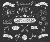 Hand Drawn Chalkboard Catchwords — Stock Vector