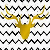 Golden Deer Head on Chevron Background — Stock Vector