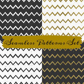 Hand Drawn Abstract Seamless Patterns Collection — Stock Vector