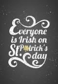 St. Patrick's Day Typographic Chalkboard Design — Stock Vector