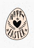 Hand Drawn Easter Greeting Card Template — Stock Vector