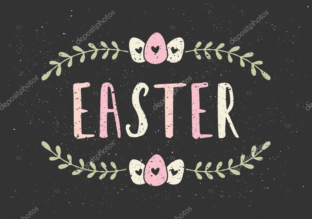 Easter Typographic Greeting Card Template  Stock Vector  Ivaleks