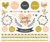 Blog Design Elements Collection — Stock Vector