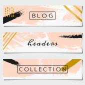 Abstract Brush Strokes Website Headers Collection — Stock Vector
