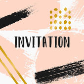 Abstract Brush Strokes Invitation Design — Stock Vector