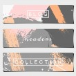 Постер, плакат: Abstract Brush Strokes Website Headers Collection