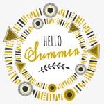 Tribal Frame Typographic Summer Design — Stock Vector #70836319