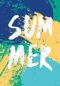Abstract Brush Strokes Summer Design — Stock Vector