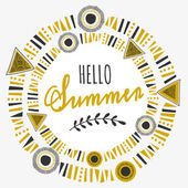 Tribal Frame Typographic Summer Design — Stock Vector