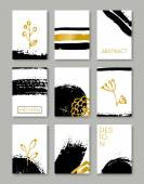 Hand Drawn Greeting Cards Collection — Stock Vector