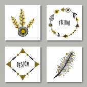 Tribal Design Cards Collection — Stock Vector