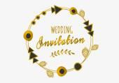 Golden Tribal Frame Invitation Design — Stock Vector