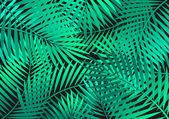 Green Palm Leaves Background — Stock Vector