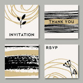 Hand Drawn Wedding Cards Collection — Stock Vector