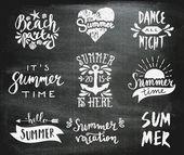 Chalkboard Typographic Summer Designs — Stock Vector