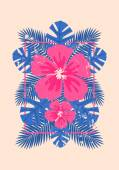 Hibiscus Flowers and Palm Leaves Design — Stock Vector