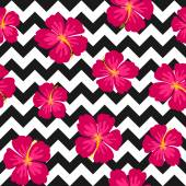 Hibiscus Flowers and Chevron Seamless Pattern — Stock Vector
