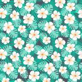 Hibiscus Flowers and Palm Leaves Seamless Pattern — Stock Vector