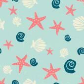 Hand Drawn Seashells Seamless Pattern — Stock Vector
