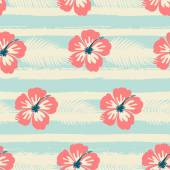 Hibiscus Flowers and Stripes Seamless Pattern — Stock Vector