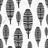 Hand Drawn Feathers Seamless Pattern — Stock Vector