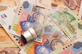 Bulb on South African money — Stockfoto
