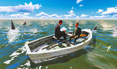 Businessmen on boat with shark — Stock Photo