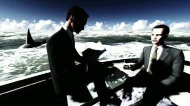 Businessmen on boat with shark — Stock Video