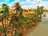 Palm trees on desert — Stock Photo