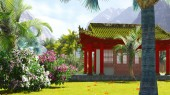 Buddhist shrine in the mountains — Stock Photo