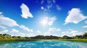 Blue sky over grassland — Stock Photo