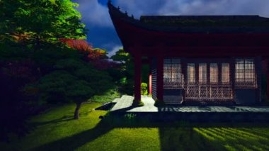 Buddhist temple in the night — Stockvideo